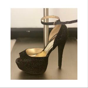 Black Sparkle Platform Formal Heel